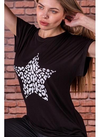 Stamina  Bayan Bisiklet Yaka Önü Yıldız Baskılı Kısa Kol Bluz-5VS09 Siyah